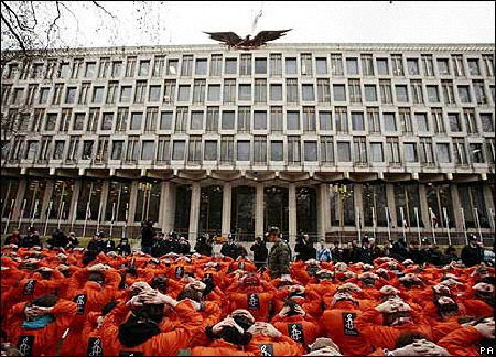 Guantanamo Protesters outside the US Embassy, London