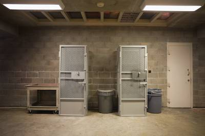 Holding cells, general population area, Security Housing Unit, Pelican Bay State Prison, Crescent City, California. Richard Ross