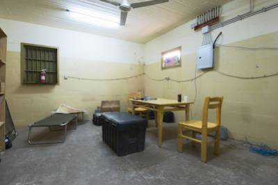 "Interview room, Abu Ghraib prison (""hard site""), Abu Ghraib, Iraq"