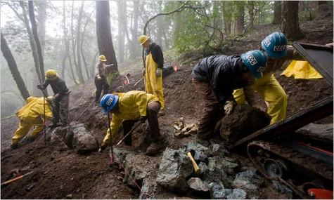 A California Conservation Corps crew repaired trails in Mount Tamalpais State Park. The corps employs 1,300 young adults. Heidi Schumann for The New York Times