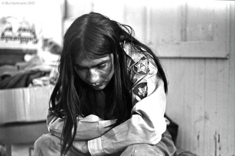 Atha Rider Whitemankiller at the Senator Hotel in San Francisco after the removal of the Indian Occupiers from Alcatraz. Whitemankiller was a courageous and eloquent speaker to the press that day. His face reflects the disappointment felt by those who occupied the island for nineteen months but lost the final battle. June 11, 1971. Photo Ilka Hartmann