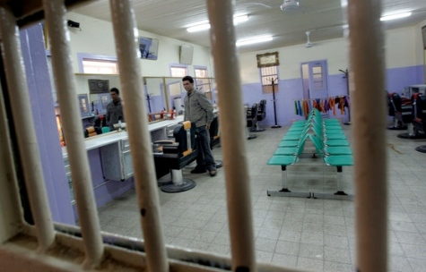view of the barbers shop at the newly opened Baghdad Central Prison
