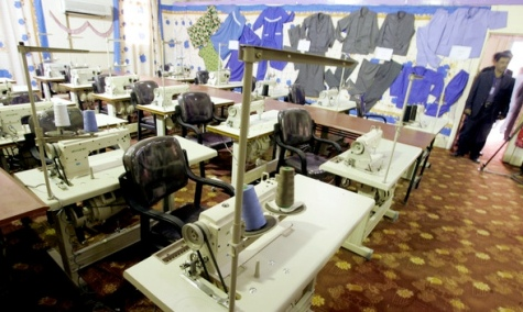 Interior view of sewing machines at the newly opened Baghdad Central Prison in Abu Ghraib on February 21, 2009. Wathiq Khuzaie/Getty Images Europe.