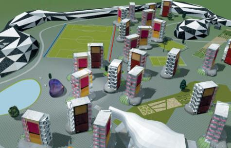 A rendering of Will Alsop's new corrections landscape, developed in collaboration with prisoners, resembles a cross between Communist-era housing blocs and a series of South Beach condos. Courtesy Alsop Architects