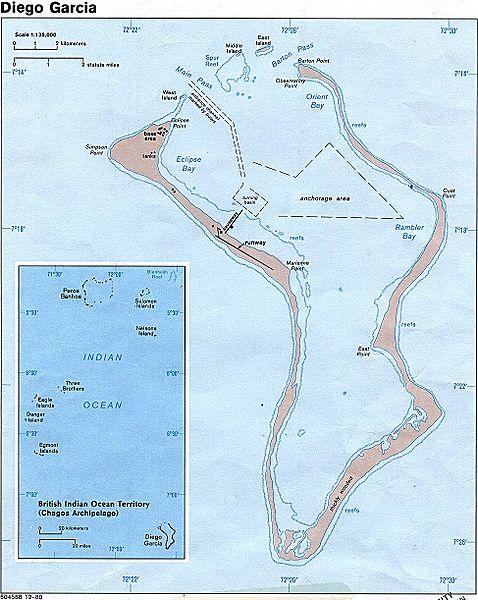 Diego Garcia Island, Indian Ocean, United Kingdom Territory. Rendition Flights Refuelled on the Island in 2002.