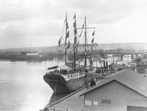 "Around 1916, the exhibition prison ship ""Success,"" from Melbourne Australia, was docked at the Tacoma Municipal Dock Landing and open for tours. Marvin D. Boland Collection, Tacoma Public Library. Series: G50.1-103 (Unique: 31555)"