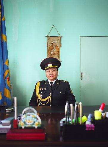 Munkhbayar is the director of the women's prison just outside Ulaanbataar, her background is in Law. © Grace Gelder
