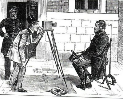Cartoon of prison photographers from the Illustrated London News, 1873 in The Mechanical Eye in Australia (OUP, Davies & Stanbury, 1985). Via (Source)