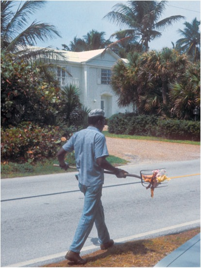 Prisoner cleaning up on Palm Beach. © Jacob Holdt