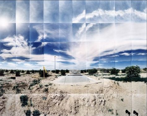 "Gila River Relocation Camp, Dog Grave, Gila River, Arizona © Masumi Hayashi. Panoramic photo collage with Fuji Crystal Archive prints, 1995. Size: 38"" x 31"""