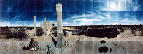 "Gila River Relocation Camp, Foundations, Gila River, Arizona © Masumi Hayashi. Panoramic photo collage with Fuji Crystal Archive prints, 1990. Size: 22"" x 56"""