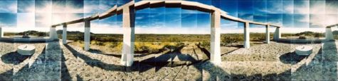 "Gila River Relocation Camp, Monument, Gila River, Arizona © Masumi Hayashi. Panoramic photo collage with Fuji Crystal Archive prints, 1995. Size: 31"" x 75"""