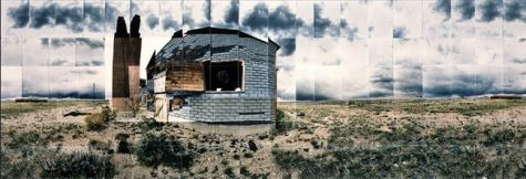 "Heart Mountain Relocation Camp, Hospital, Park, Wyoming © Masumi Hayashi. Panoramic photo collage with Fuji Crystal Archive prints, 1995. Size: 32"" x 70"""