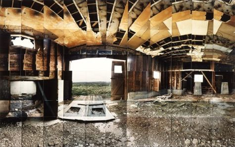 "Heart Mountain Relocation Camp, Interior, Park, Wyoming © Masumi Hayashi. Panoramic photo collage with Fuji Crystal Archive prints, 1995. Size: 31"" x 42"""