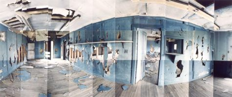 "Heart Mountain Relocation Camp, Blue Room, Park, Wyoming © Masumi Hayashi. Panoramic photo collage with Fuji Crystal Archive prints, 1995. Size: 23"" x 45"""