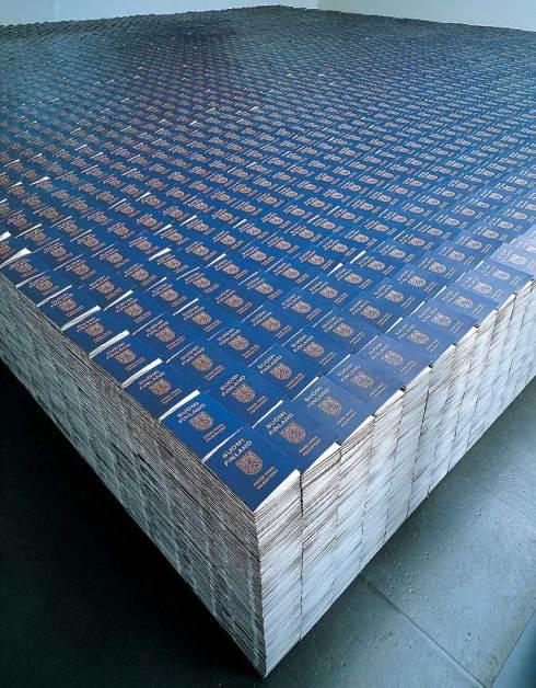 """One Million Finnish Passports"", 1995. One million replicated Finnish passports, glass, 800 x 800 x 80 cm. Installation view: Museum of Contemporary Art, Helsinki. Artist: Alfredo Jaar, courtesy Galerie Lelong, New York."