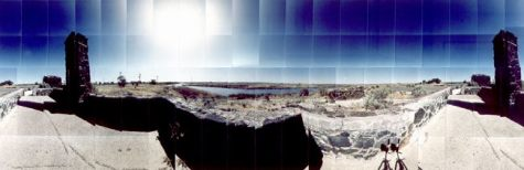"Minidoka Relocation Camp, Visitors Waiting Room, Minidoka, Idaho © Masumi Hayashi. Panoramic photo collage with Fuji Crystal Archive prints, 1992. Size: 27"" x 70"""