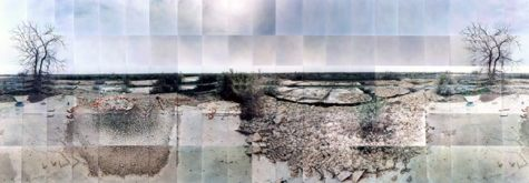 "Topaz Relocation Camp, Foundations, Delta, Utah © Masumi Hayashi. Panoramic photo collage with Fuji Crystal Archive prints, 1995. Size: 31"" x 72"""