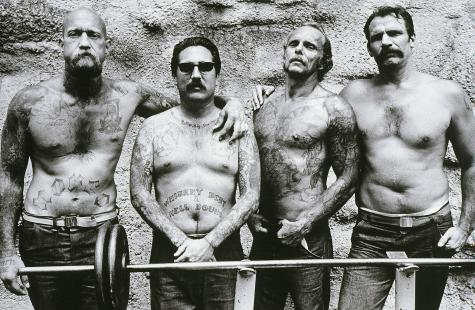 Four Convicts, Folsom Prison, CA. Anthony Friedkin. 1991. Silver Print. 16 x 20 inches