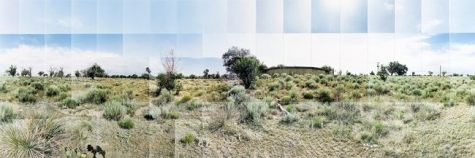 "Granada (Amache) Relocation Camp, Water Tank, Prowers, Colorado © Masumi Hayashi. Panoramic photo collage with Fuji Crystal Archive prints, 1997. Size: 23"" x 31"""