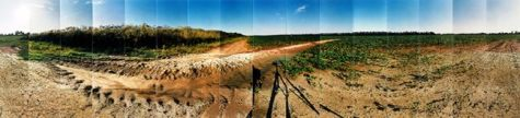 "Jerome Relocation Camp, Farm, Drew & Chicot, Arkansas © Masumi Hayashi. Panoramic photo collage with Fuji Crystal Archive prints, 1995. Size: 22"" x 59"""