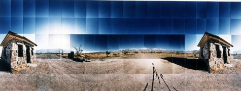 "Manzanar Relocation Camp, Guard Gates, Inyo, California © Masumi Hayashi. Panoramic photo collage with Fuji Crystal Archive prints, 1992. Size: 27"" x 65"""