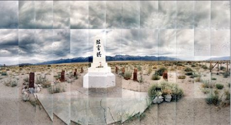 "Manzanar Relocation Camp, Monument (Version 1), Inyo, California © Masumi Hayashi. Panoramic photo collage with Fuji Crystal Archive prints, 1995. Size: 20"" x 30"""