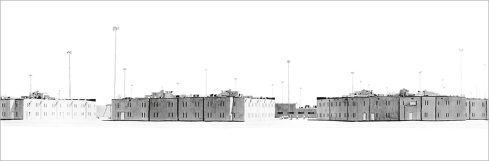 California State Prison, Corcoran. 2006, ink and pencil on paper, 52 x 156 inches.