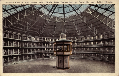 "Postcard of an American panopticon: ""Interior view of cell house, new Illinois State Penitentiary at Stateville, near Joliet, Ill."" Source: Scanned from the postcard collection of Alex Wellerstein. (Copyright expired.)"
