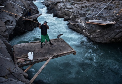 Yakama Indians dip-net salmon on the Klickitat River