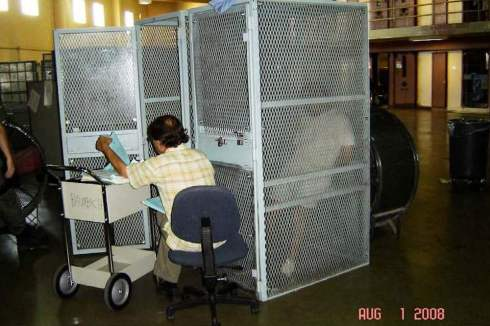 Clinical contact holding cage, Administrative Segregation Unit (ASU), C-Yard, Building 12, Mule Creek State Prison, California. August 1st, 2008