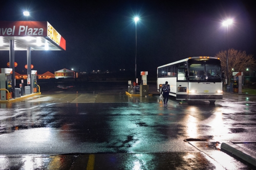 A rest stop at night in Pennsylvania. April 26, 2014.