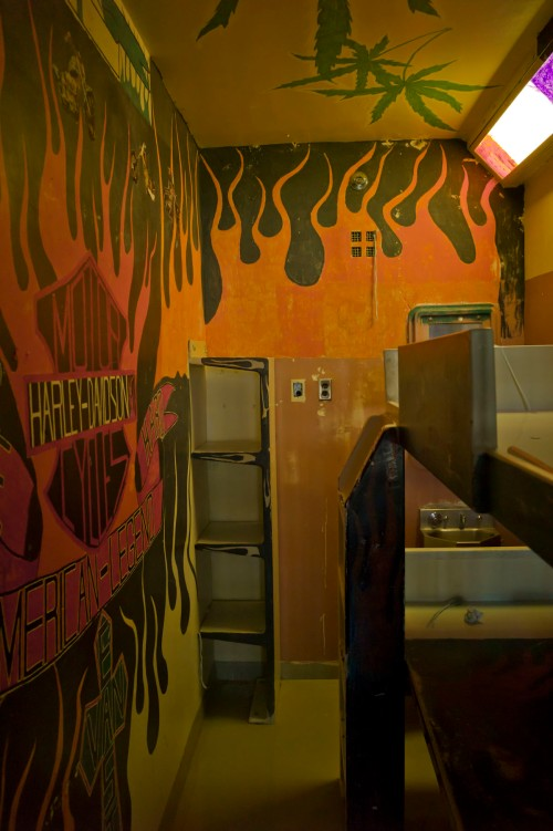 Cell decorated with Harley Davidson and East Van logos